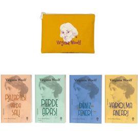 Sarı Eskitme Desenli Clutch Cüzdan Hediyeli Virginia Woolf Seti - 4 Kitap Takım
